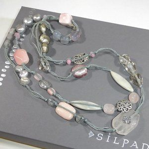 Silpada Long Pink Soapstone Necklace 925 Silver